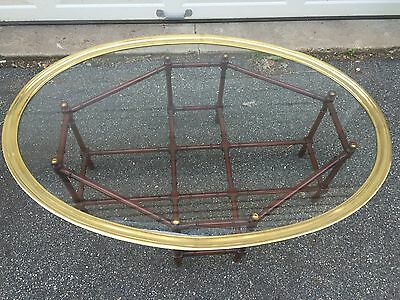 Mid century Modern Faux Bamboo Coffee Table Brass Glass Removable Tray Vintage
