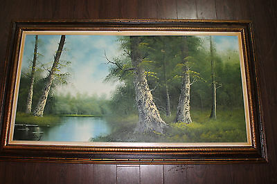 Vintage Antique Original Oil Painting Forest Landscape Fine Art Signed Artist
