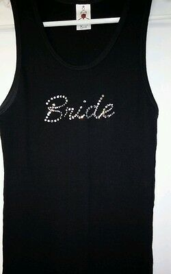 Size XL BRIDE Rhinestone Black Ribbed Tank Top By: Classy Bride NWOT