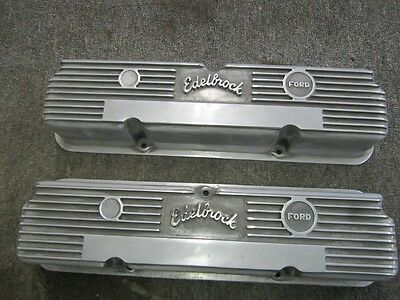 Vintage Edelbrock Valve Covers 390 427 428 Fe Ford Galaxie Xl 500 Afx Fairlane