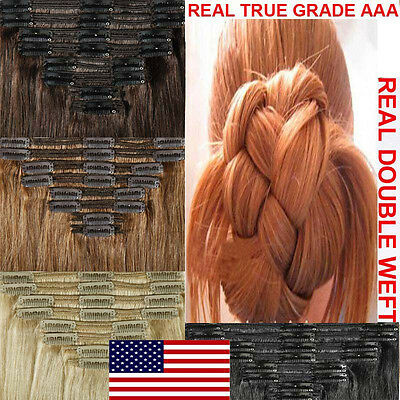 Double Weft Clip In Remy Human Hair Extensions Full Head Thick 150g-200g US N133