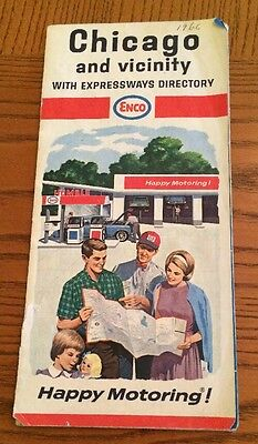 1966 ENCO HUMBLE OIL Road Map CHICAGO Vicinity Illinois