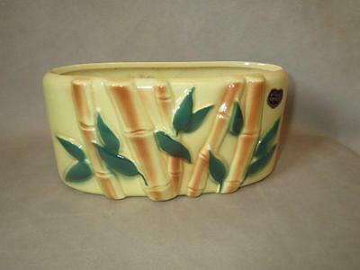Vintage 1950's Bamboo Shoots & Leaves onYellow Planter w/ Original Label!