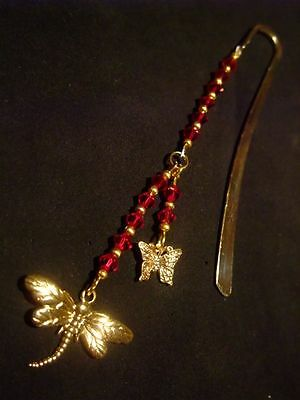 1 x Sparkling Swarovski Bicone Bead Gold Dragonfly and Butterfly Bookmark Gift