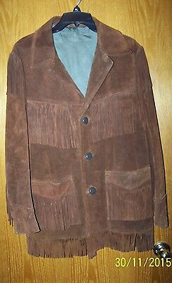 Old Vintage Men's Suede Leather Fringed Jacket 60-70's