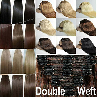 Certified True Thick Clip In Remy Human Hair Extensions Double Weft 180g US N132