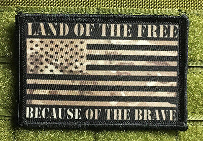 Multicam American Because of the Brave FLAG MORALE Patch Tactical ARMY Military
