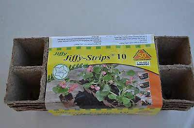 """Jiffy Strips Peat Pots 50 Cells 1 3/4"""" Seed Starting"""