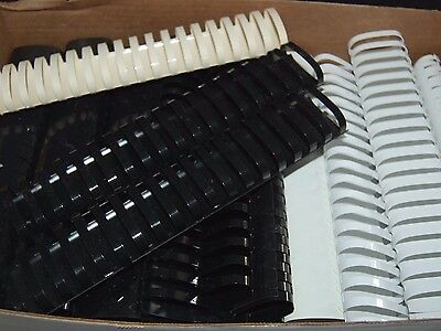 """Lot of 10 WHITE 2"""" BINDING COMBS 19 Ring Plastic Book Spines OVAL 425 Sheet Cap"""