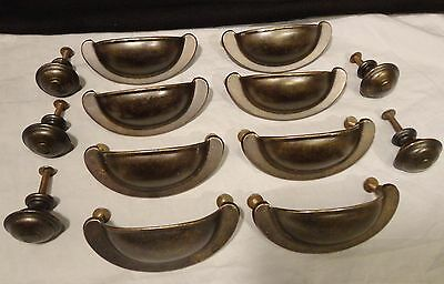Cup Drawer Dresser Furniture Pull Brass Handle Set 8 Pulls 5 Round Knobs salvage