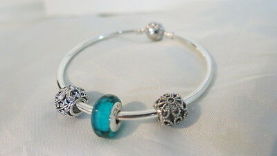 Genuine Pandora Sterling Silver Bangle with Charms Brand New