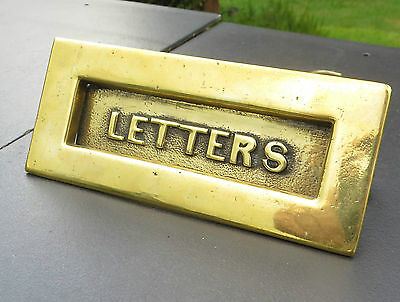 Small Solid Brass Antique/Vintage Letter Box / Letter Plate - LETTERS