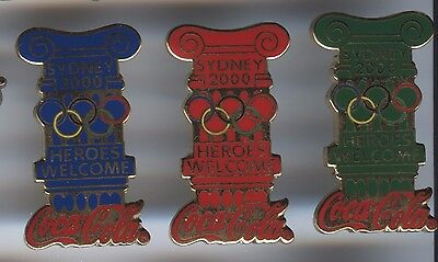 Sydney 2000 Olympic Games Australia - Coke Cola - 3 Pins Welcome Heroes