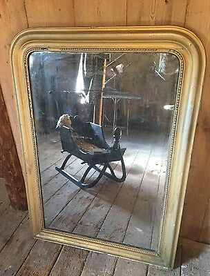 Antique French Mirror Louis Phillipee Large Silver Gilt Mercury Distressed Glass
