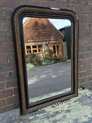 Antique Mirror French Louis Philippe - Black And Gold With Foxed Glass