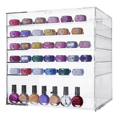 Large 6 Tier Clear Acrylic Makeup Cosmetic Organiser Storage Box Drawers Case