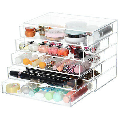 Large 5 Tier Clear Acrylic Makeup Cosmetic Organizer Storage Box Drawers Case