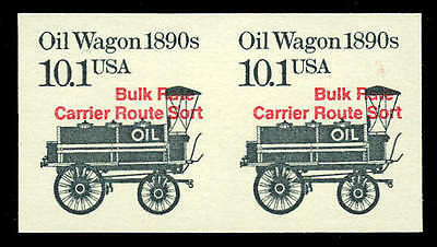 US #2130b 10.1¢ Oil Wagon, Red Precancel, Imperf Imperforate Pair, VF NH MNH