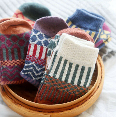 5 Pairs Lot Women Wool Cashmere Warm Soft Thick Casual Multicolor Winter Socks