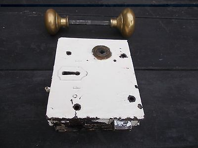 Vintage Old Lock With Brass Knob Handles