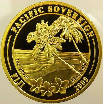 2009 FIJI PROOF PACIFIC SOVEREIGN Two palm trees oz RARE $100 FINE GOLD 999,9
