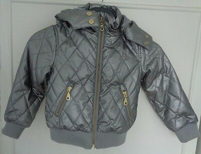 H&M size 2-3 years silver quilted jacket