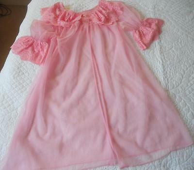 Vintage 1960's Ladies Sylray Brand Sheer Pink Nylon Pin Up Baby Doll Negligee W