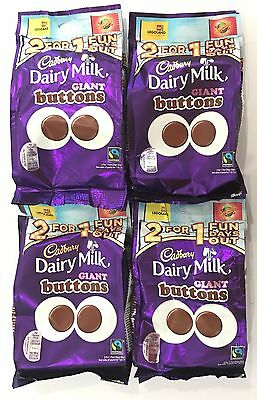 909328 4 x 119g BAGS OF CADBURY DAIRY MILK GIANT BUTTONS - RECLOSABLE! - UK