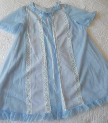 Vintage 1960's Glorowin Sheer Over Blue Nylon Pin Up Baby Doll Negligee Sw