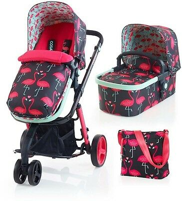 Cosatto Giggle 2 Baby Travel System in Flamingo Fling Carrycot Pushchair Bag
