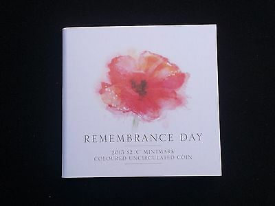 $2 2015 C Remembrance Day Orange Coin on RAM Card.