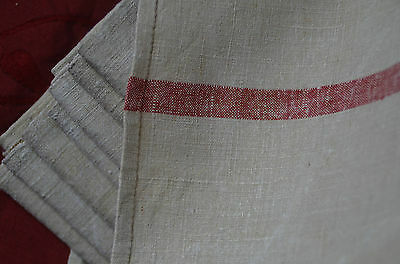 """An unused classic French pure linen red striped torchon or towel 31"""" x 29"""""""