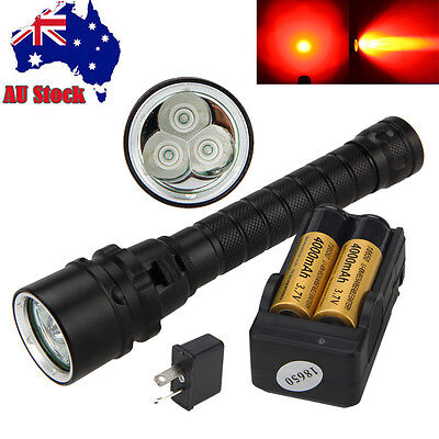 Waterproof Diving 3x XPE RED T6 LED Light Scuba Flashlight Torch Lamp 2*18650 AU