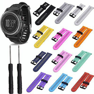 Soft Silicone Strap Replacement Watch Band w/Tool For Garmin Fenix3/HR GPS Watch