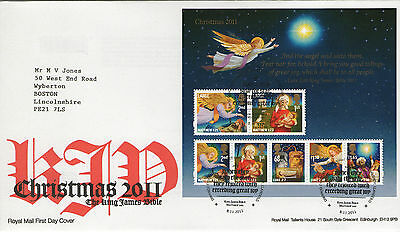 """Gb Fdc 2011 """"xmas-King James Bible""""ms-Sp/hs"""