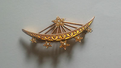 15ct Rose Gold Brooch Stunning Crescent shape set with Seed Pearls Late 19C