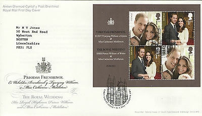 """Gb Fdc 2011 """"the Royal Wedding"""" Ms-Sp/hs"""