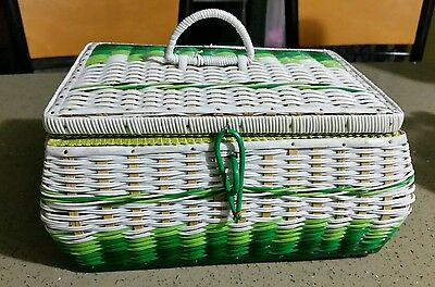 Vintage Retro Green & White Plastic Wicker Sewing Basket
