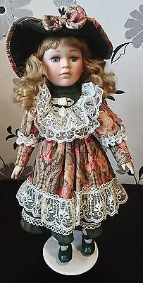 17 inch Beautiful Victorian Porcelain Doll on Stand, Large detailed dress, Colle