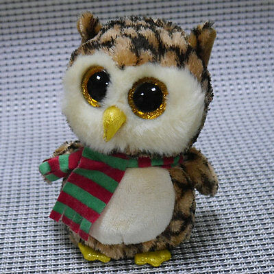 Soft Toy FROM TY BEANIES BOOS Scarf Owl Wise 6inch Stuffed toy missing tags