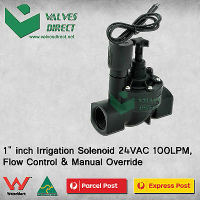 "1"" inch Irrigation Solenoid 24VAC 100LPM,Flow Control & Manual Override"