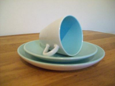 Poole Pottery Twintone Cup , Saucer & Side Plate