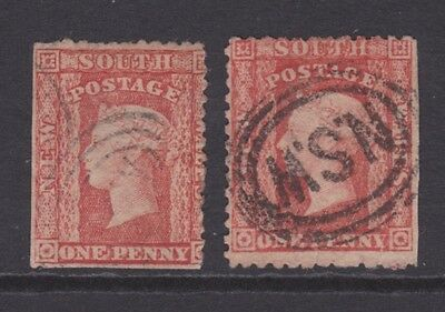 NSW OLD 1860-72 1d Scarlet Red PAIR QV VF USED  (BC26)