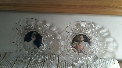 Commemorative glass dishes of George 5 and Queen Mary Coronation 1911