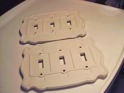 Vtg Off White Porcelain Ceramic *Triple Switchplate Wall Cover Lot of 2