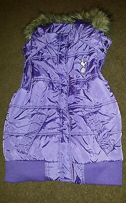 Girls Tottenham Hotspur Spurs Gilet Body Warmer 7 - 8 years Hooded