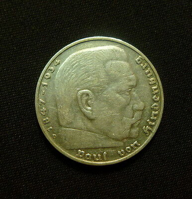 WWII Antique Germany 5 mark 1936 D SILVER German Coin NICE LOOK