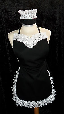 VICTORIAN SEXY FRENCH MAID APRON & HAT  BLACK & WHITE * Made in England