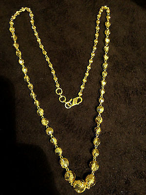 Vintage Handmade Chain Necklace Earrings Jewellery Set In Solid 22K Yellow Gold