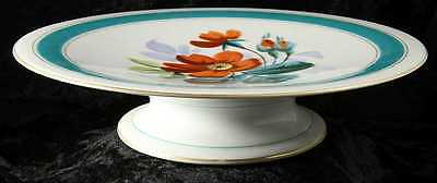 cake dessert plate on stand no makers mark red dog rose design 9 inches across